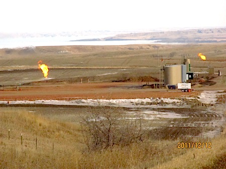 North Dakota oil field double-flares