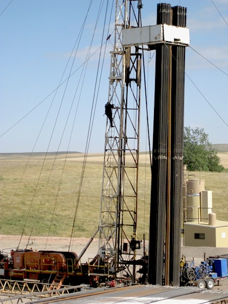 Oilfield worker on North Dakota Bakken oil rig