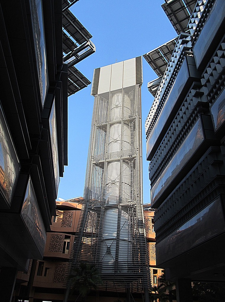 Wind tower at Masdar City uses ancient desert technology to cool buildings. Photo/Keith Schneider