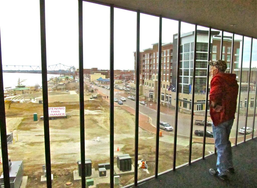 Through the Convention Center's east window, a view of the LEED-certified Hampton Inn & Suites and a city in transformation. Photo/Keith Schneider