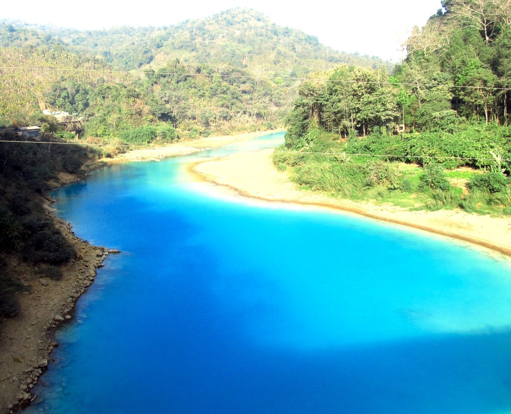 The Lukha River runs Gatorade blue due to sulphate pollution from Meghalaya's coal mining sector. Photo/Keith Schneider