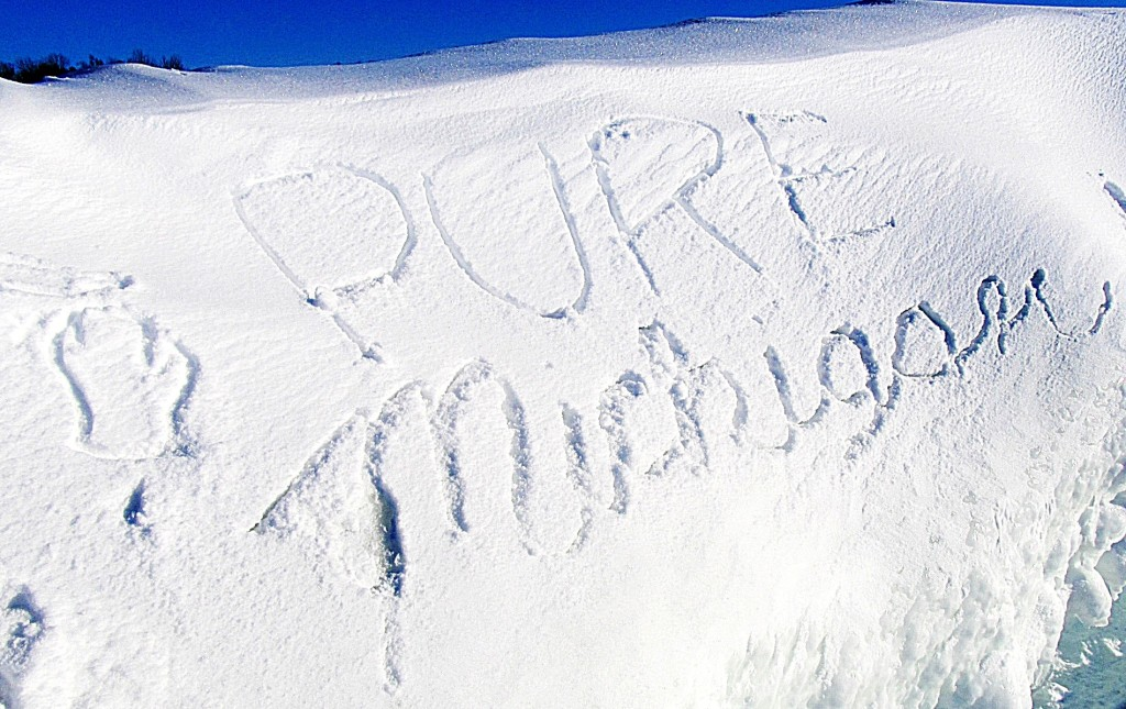 Pure Michigan sign in the snow says it all. Photo/Keith Schneider