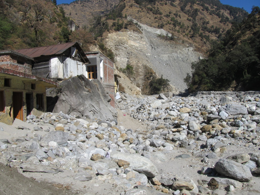 Six months after a Himalyan flood that may have killed 30,000 people and wrecked Uttarakhand's hydropower sector, Sonprayag presents heart-rending evidence of the disaster. Photo/Keith Schneider