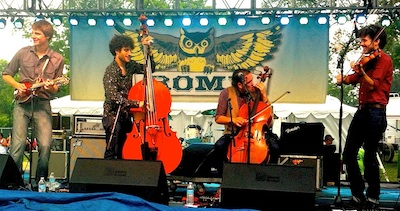 The Brotet debuts at ROMP with (r to l) Dominick Leslie, Samson Grisman, Nathaniel Smith, Alex Hargreaves. Photo/Keith Schneider