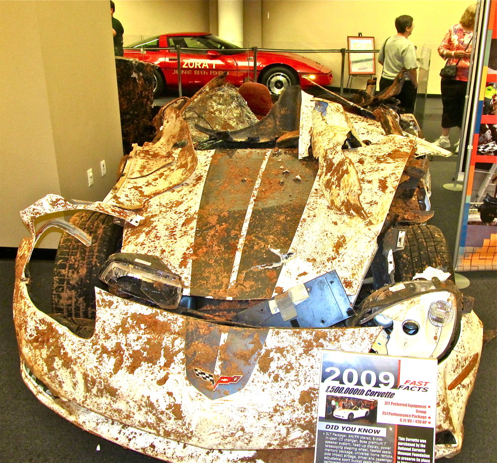 One of the eight Corvettes wrecked after a sinkhole opened in February beneath a wing of the National Corvette Museum in Bowling Green, Kentucky. Photo/Keith Schneider