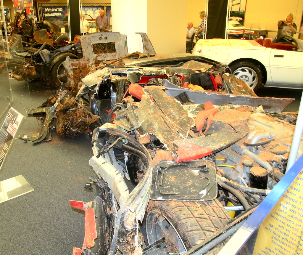 The worst of the eight Corvettes damaged by a sinkhole in Kentucky. Photo/Keith Schneider