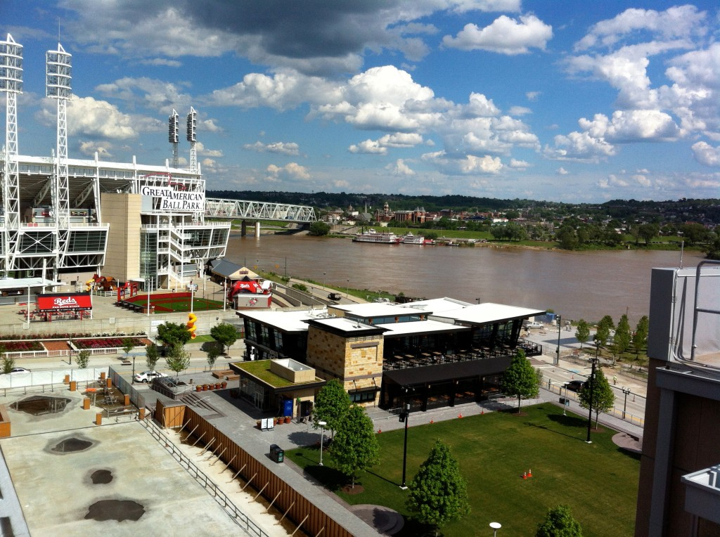 Cincinnati's $1billion-plus Ohio River shoreline, developed with taxpayer and private funds, is more lively than it's been for decades. Photo/Keith Schneider