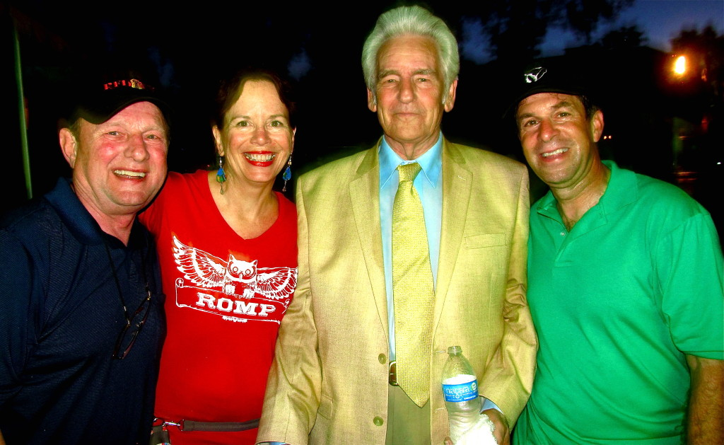 As founder and director of the ROMP bluegrass music festival, Gabrielle Gray attracts the top talent in bluegrass, among them Ronnie Reno (l) and Bluegrass Hall of Famer and National Heritage Award winner Del McCoury (second from right with me). Photo/Keith Schneider