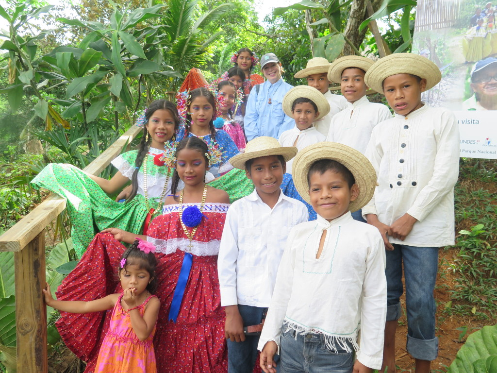 Children of the Ancha community in Panama greet visitors in native costumes. Photo/Keith Schneider