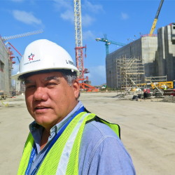 "Luis Ferreira, an architect and engineer, has worked for the Panama Canal Authority for 40 years. ""It's big,"" he says of the expansion project. ""But it may not be big enough. There are ships out there already that are too big for the new locks."" Photo/Keith Schneider"
