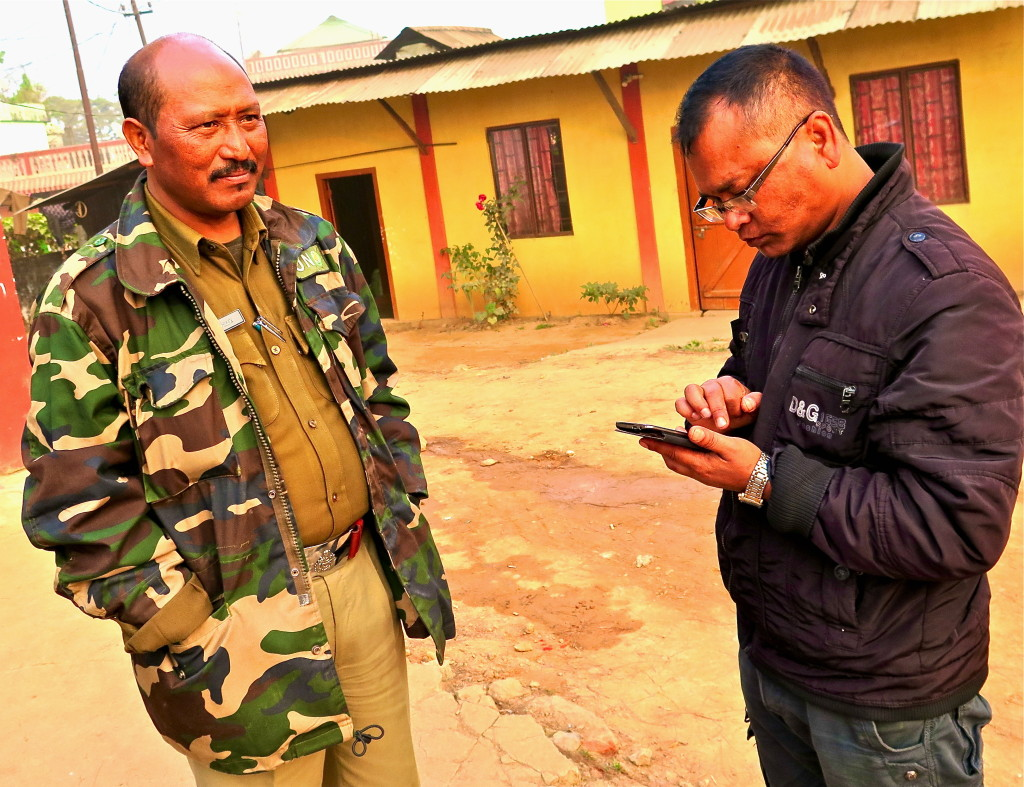 "Sannio Siangshai (r), a reporter for the Shillong Times, who appears in ""Broken Landscape,"" and has closely covered the depradations of Meghalaya's coal sector. Photo/Keith Schneider"