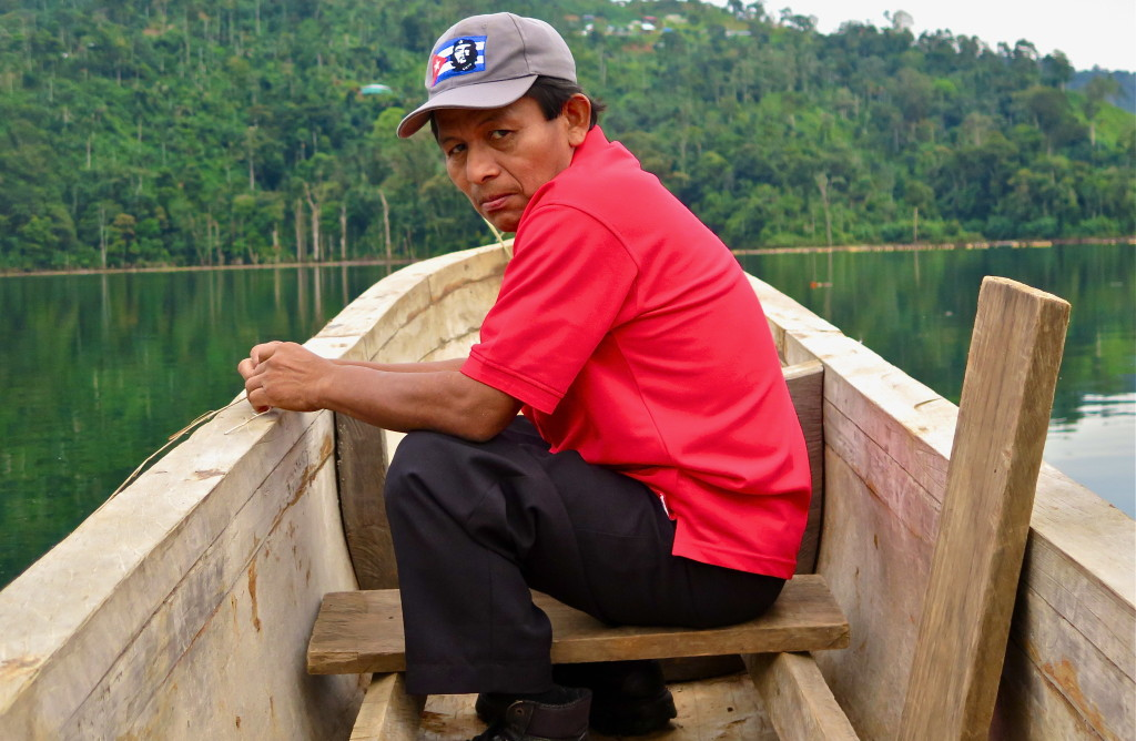Tomas Villagro, a Ngobe villager, mourns the loss of th free flowing river, the forest land submerged, and the disruption caused by the Changuinola I dam backwater. He describes the torment of the loss as so deep it feels like grief. Photo/Keith Schneider
