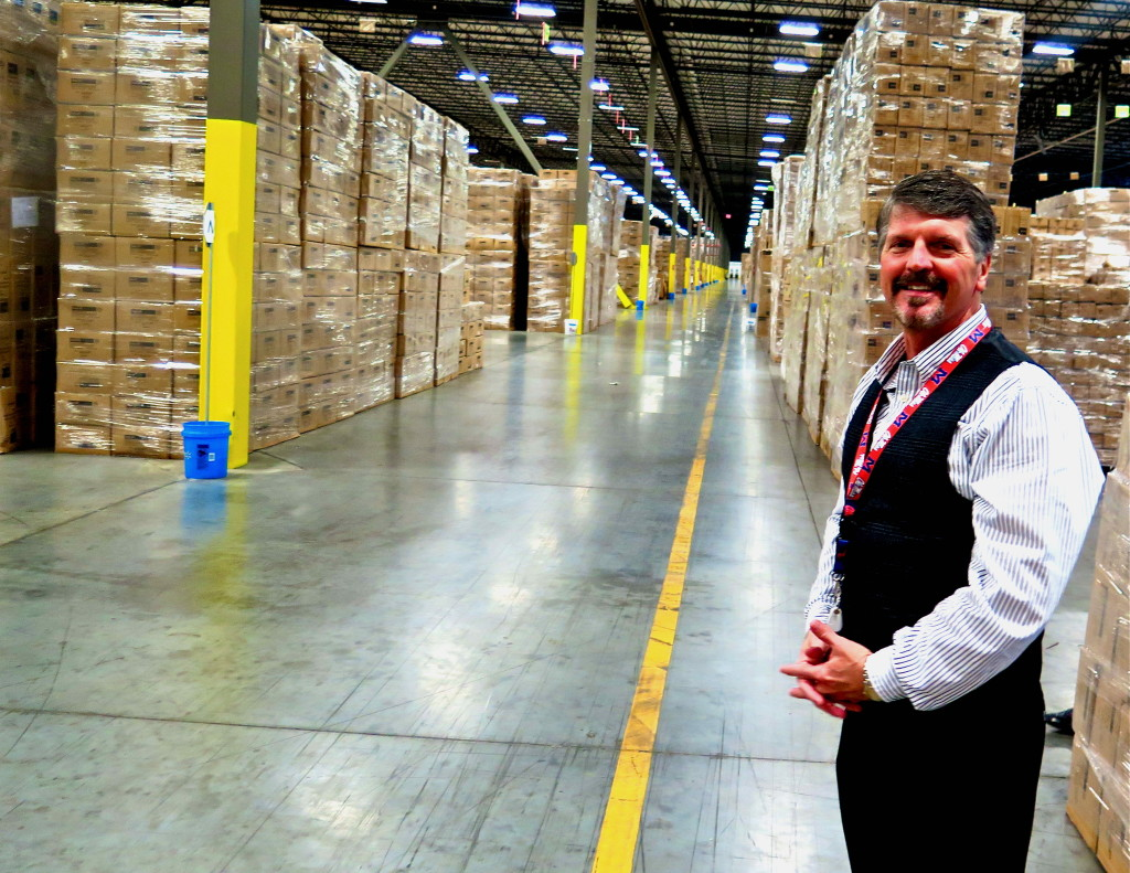 Rodney Dickey, president of OA Logistics, inside a building that is longer than a five-shot golf hole. Photo/Keith Schneider