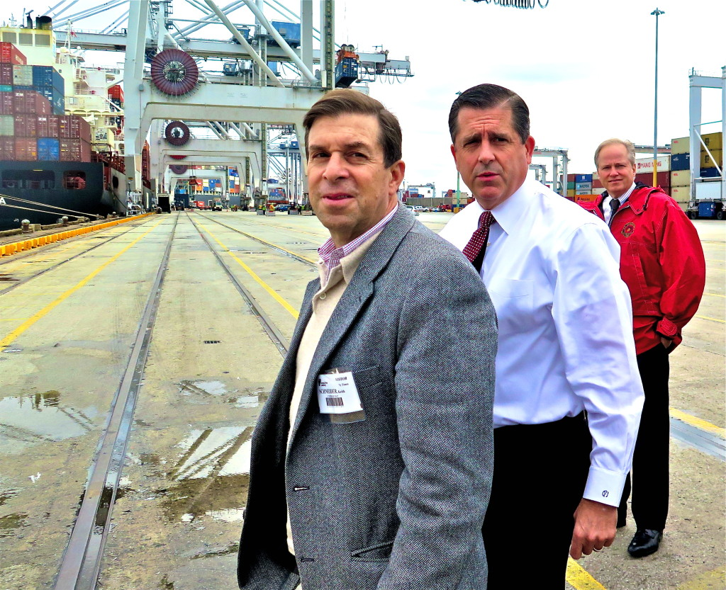 Correspondent at work with ports director Curtis Foltz (immediate right) and Robert Morris in Savannah. Photo/Keith Schneider