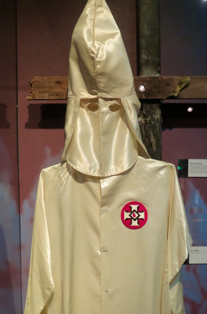 The hooded robe of a Klan member displayed at the Birmingham Civil Rights Institute. A symbol of virulent hate. Photo: Keith Schneider