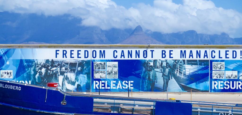 Message that greets visitors to Robben Island.Photo/Keith Schneider