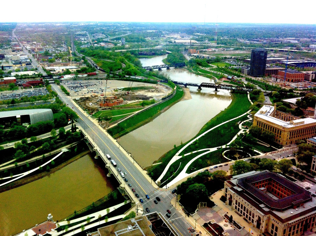 Another view of the Scioto River shoreline in Columbus. Photo/Keith Schneider