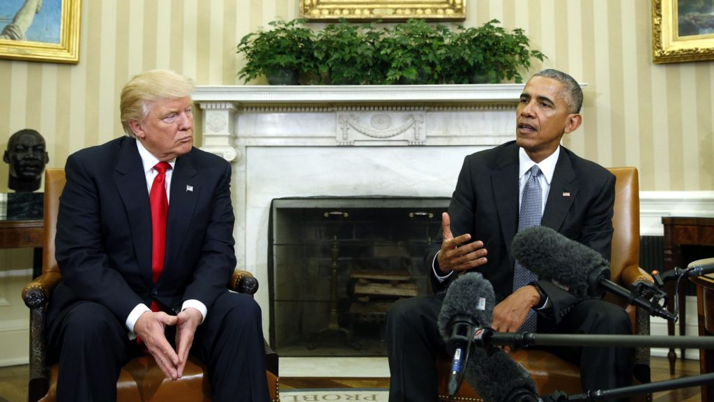 Donald Trump and President Obama at te White House days after the election.