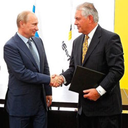 Vladimir Putin (l), president of the Russian Federation, and Rex Tillerson, ExxonMobil's chairman and Secretary of State nominee, will try to stabilize energy markets to aid oil prices.