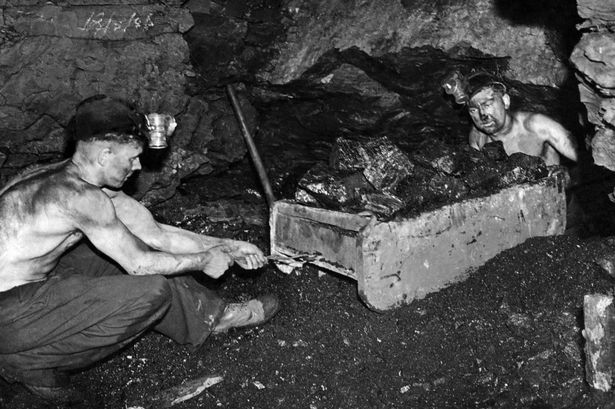 Underground coal miners in Appalachia, 1945