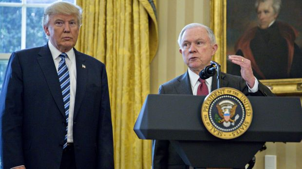 Actors in a developing constitutional crisis:  President Trump and Attorney General Jeff Sessions.